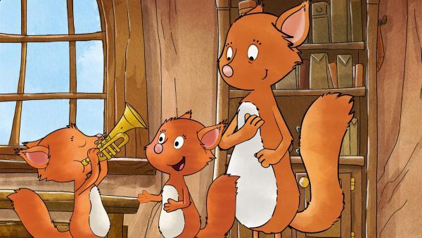 Billy und Benny sind zwei übermütige Eichhörnchen, die gerne spielen. Sie können sich nicht von Gefahren fernhalten. Zum Glück passt ihre Mama Edna gut auf sie auf. | Rechte: MDR/WunderWerk