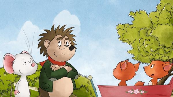 Tilda und Rupert haben die Eichhörnchenjungs beim Wagenrennen ertappt. | Rechte: MDR/WunderWerk