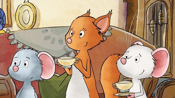 Tilda, Molly und Edna lauschen dem Märchen von Rupert.   Rechte: MDR/WunderWerk