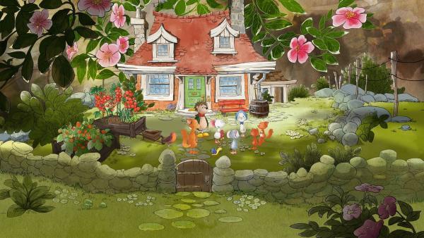Tilda und ihre Freunde spielen im Garten. | Rechte: MDR/WunderWerk