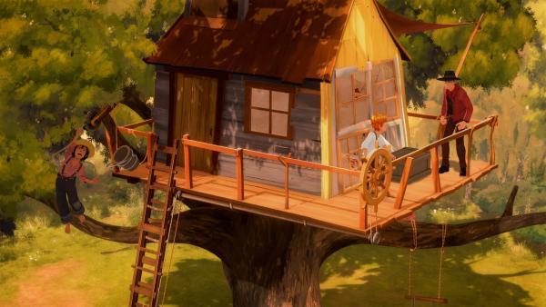 Huck (li.) ist in Panik: Joe (re.) hat sein Baumhaus in Beschlag genommen und weigert sich, es zu räumen! Kann Tom helfen? | Rechte: HR/2019 Cyber Group