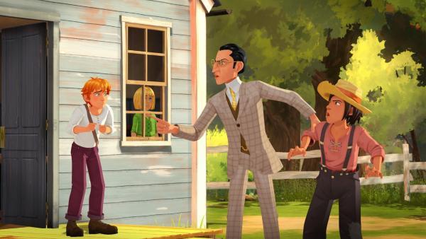Mr. Dobbins beschuldigt Huck seinen goldenen Kompass gestohlen zu haben. Tom will seinem Freund helfen. | Rechte: HR/2019 Cyber Group