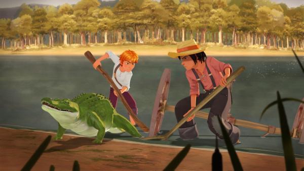 Tom und Huck wollen Ali, dem verletzten Alligator helfen. | Rechte: HR/2019 Cyber Group