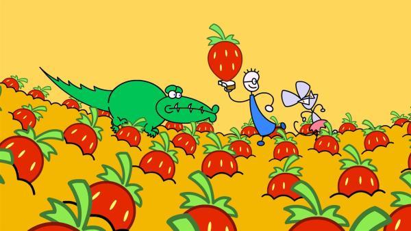 Eines Tages denkt TOM an ein leckeres Erdbeermarmeladenbrot mit Honig. TOM muss sich selber seine Erdbeere pflanzen. | Rechte: SWR/Hykade