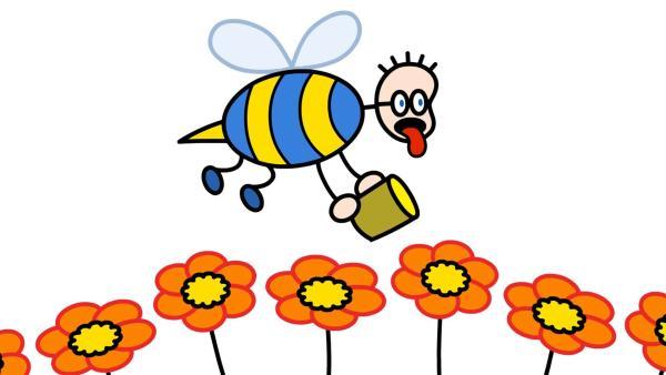 Eines Tages denkt TOM an ein leckeres Erdbeermarmeladenbrot mit Honig. Nur der Honig fehlt noch. Die Bienen freuen sich über den fleißigen Helfer und ehe sich TOM versieht, ist er ganz schlapp vom Nektar sammeln.   Rechte: SWR/Hykade