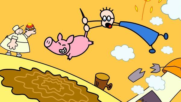 TOM sich um das Schwein vom Müller kümmern. Aber das Schwein erweist sich im Umgang als ziemlich kompliziert.   Rechte: SWR/Hykade