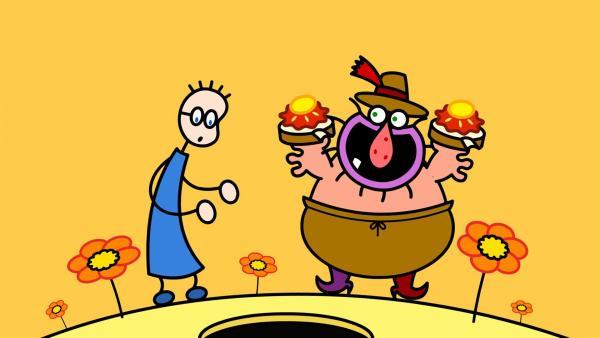 TOM an ein leckeres Erdbeermarmeladebrot mit Honig. Der Müller gibt ihm zwei Marmeladebrote. | Rechte: SWR/Hykade