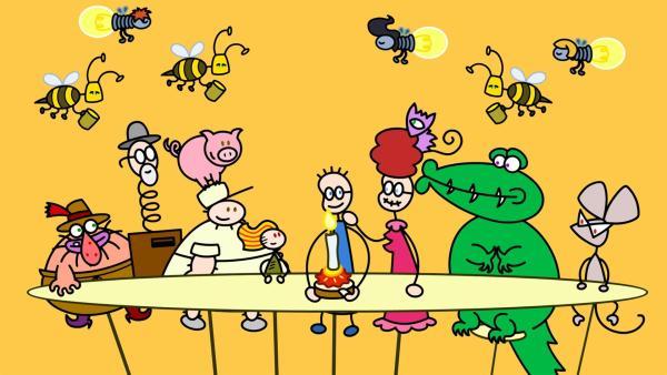 Eines Tages denkt TOM an ein leckeres Erdbeermarmeladebrot mit Honig. Doch alle verhalten sich merkwürdig.   Rechte: SWR/Hykade