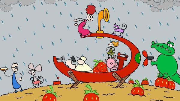 Starker Regen zieht auf. Deshalb bauen sich TOMs Freunde zur Sicherheit ein Unterseeboot. | Rechte: SWR/Andreas Hykade