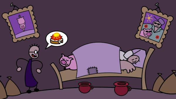 Sogar nachts sucht TOM nach einem Erdbeermarmeladenbrot mit Honig. | Rechte: SWR/Andreas Hykade