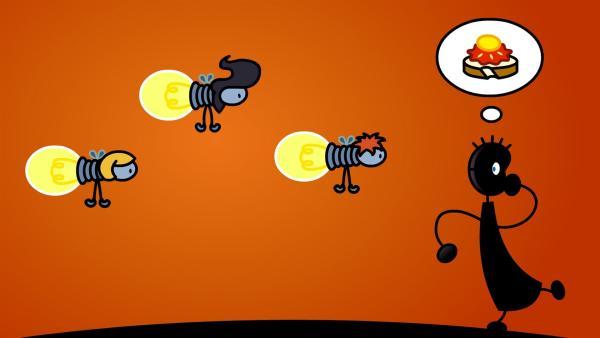 Die Glühwürmchen haben sich verflogen und finden nicht mehr zurück in den Wald. TOM hilft ihnen. | Rechte: SWR