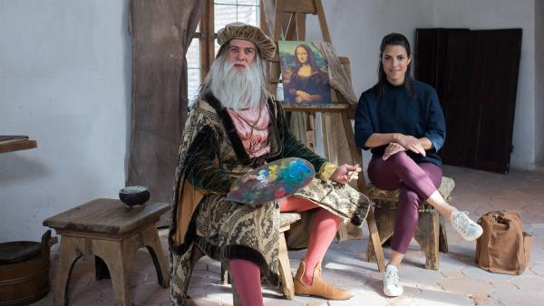 "Clarissa trifft Leonardo da Vinci  (Philipp Danne) - den Maler der ""Mona Lisa"". | Rechte: KiKA/Sabine Finger"