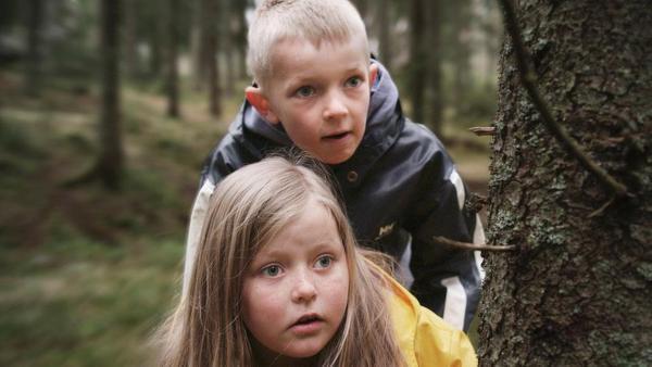 Robin (Erlend Böe) und Kaja (Synne Stensgård) beobachten, wie im Wald ein Gewehr versteckt wird. | Rechte: NDR/NordicStories