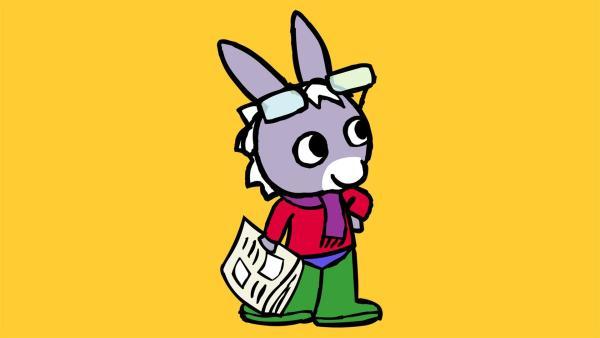 """TROTRO findet im Flur Papas Gummistiefel. In so großen Schuhen fühlt sich TROTRO gleich wie Papa. So nimmt er noch Papas Brille, den Schal und seine Zeitung. So ausgestattet kann der """"kleine Papa"""" doch mal der Mama einen Besuch abstatten.   Rechte: KiKA/Storimages"""