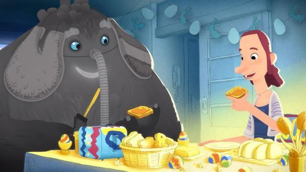 Trude und das Tier beim Frühstück. | Rechte: WDR/Studio Soi