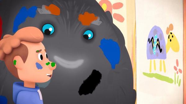 Trudes Tier begegnet durch Zufall einem Kind, dessen Krankheit unsichtbar ist. Malen soll ihm helfen. Gute Idee, findet Tier und legt auch gleich los. | Rechte: WDR/Studio Soi