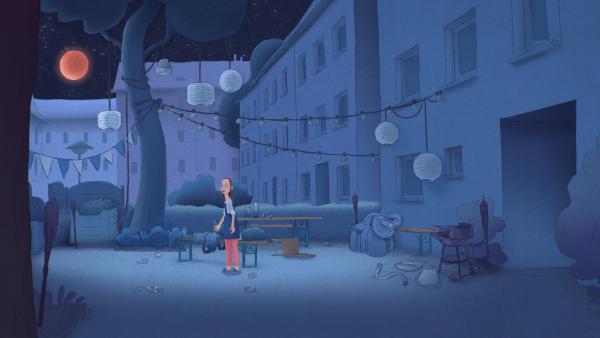 Was Trude bisher nicht wusste: das Tier verschwindet bei einer Mondfinsternis, sobald es einschläft, und wacht dann irgendwo anders auf der Welt auf. Da in der Nacht wieder eine Mondfinsternis bevorsteht, planen Trude und das Tier die ganze Nacht durchzumachen mit Musik und Tanz und viel viel Action. Hauptsache, nicht einschlafen! | Rechte: WDR/Studio Soi