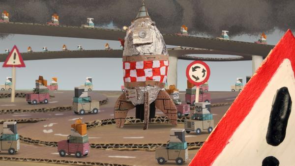 Timmi erlebt Abenteuer auf dem Autoplaneten. | Rechte: rbb/MDR/MotionWorks GmbH