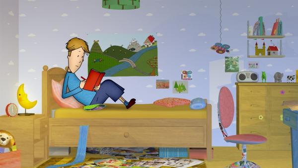 Manchmal kann Lennart abends nicht einschlafen, weil ihm etwas nicht aus dem Kopf gehen will. Dann stellt er sein Bett auf die große Wiese im Grummeltal..   Rechte: rbb/DIGITRICK