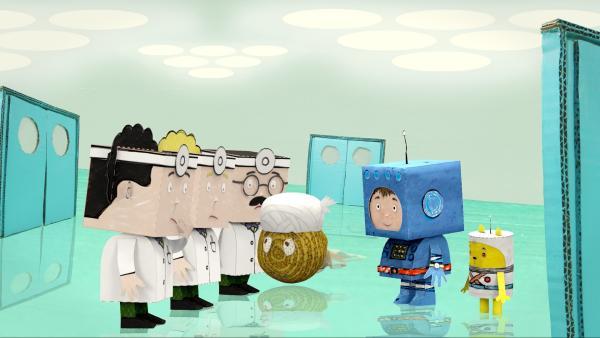 Timmi und Teddynaut sind auf dem Arztplaneten gelandet.   Rechte: rbb/MDR/MotionWorks GmbH
