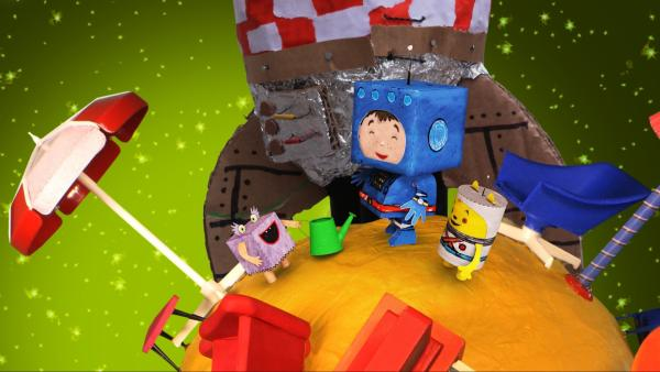 Timmi und Teddynaut sind auf dem Winzelplaneten gelandet. | Rechte: rbb/MDR/MotionWorks GmbH