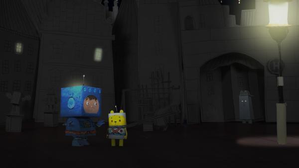 Timmi und Teddynaut sind auf dem Geheimplaneten gelandet. | Rechte: rbb/MDR/MotionWorks GmbH