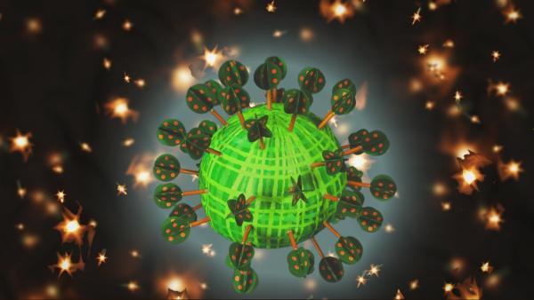 Timmi und Teddynaut sind auf dem Pflanzenplaneten gelandet. | Rechte: rbb/MDR/MotionWorks GmbH