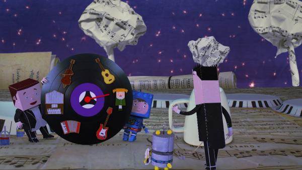 Raketenflieger Timmi und Teddynaut sind auf dem Musikplaneten. Sogleich beginnt das Konzert. Doch es klingt ganz schrecklich, weil alle durcheinander spielen. Timmi hat eine Idee. | Rechte: rbb/MDR/MotionWorks GmbH