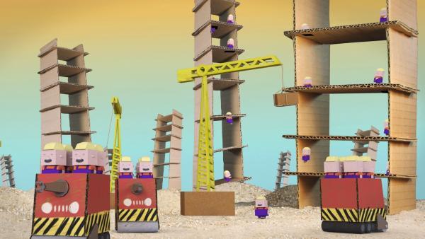 Raketenflieger Timmi und Teddynaut landen auf dem Bauplaneten, auf dem es nur gilt, den höchsten Turm zu bauen. | Rechte: rbb/MDR/MotionWorks GmbH