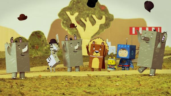 Raketenflieger Timmi und Teddynaut landen auf dem Tierplaneten. Doch, was ist hier los? Alle Tiere tragen Hüte. | Rechte: rbb/MDR/MotionWorks GmbH