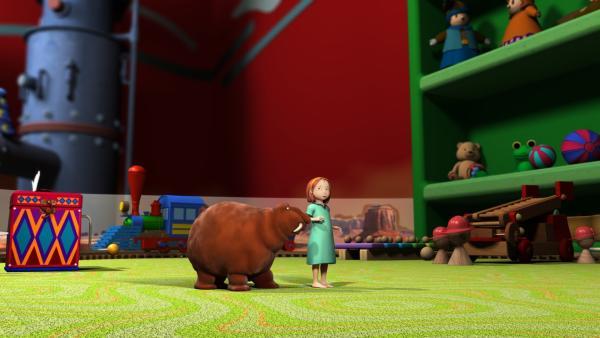Luzi reimt ihren Wunsch nicht richtig und der Moffelzauber geht schief. Alle landen mit Gepolter im Spielzeugladen. Doch dort sieht alles irgendwie anders aus... | Rechte: rbb/Digitrick