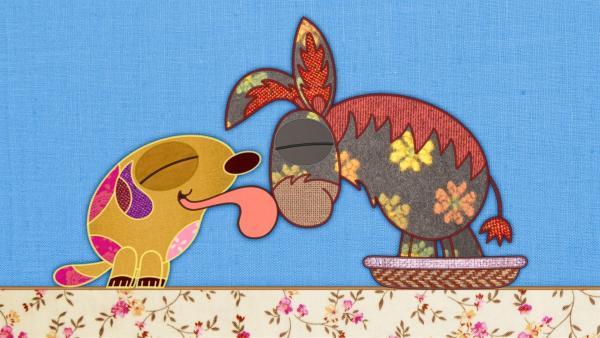 Auf meiner Schmusedecke gibt es ein Problem: der Esel steht im Körbchen vom Hund und rührt sich nicht vom Fleck! | Rechte: rbb/Studio FILM BILDER