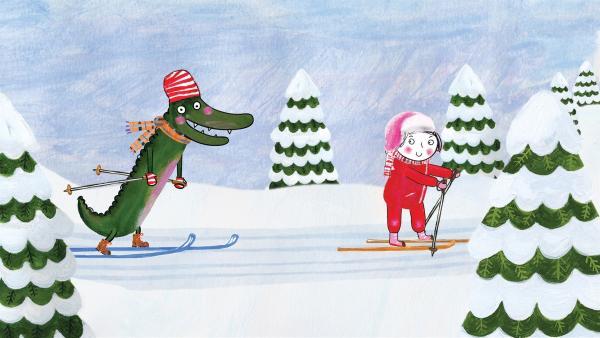 Das Krokodil lernt Ski laufen, natürlich von Rita. | Rechte: rbb/dansk tegnefilm