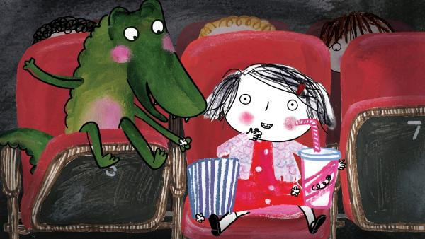 Rita war schon oft im Kino, aber das Krokodil noch nie. | Rechte: rbb/dansk tegnefilm