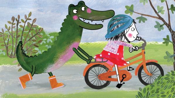 Wozu braucht man Stützräder, wenn man ein Krokodil als Freund hat? | Rechte: rbb/dansk tegnefilm