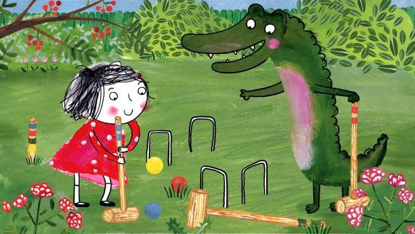 Rita weiß alles über Krocket, aber das Krokodil muss noch viel lernen. | Rechte: rbb/dansk tegnefilm