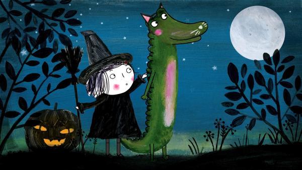 Für Halloween verkleidet sich Rita als Hexe. Aber wie wird aus ihrem Krokodil eine Katze? | Rechte: rbb/dansk tegnefilm