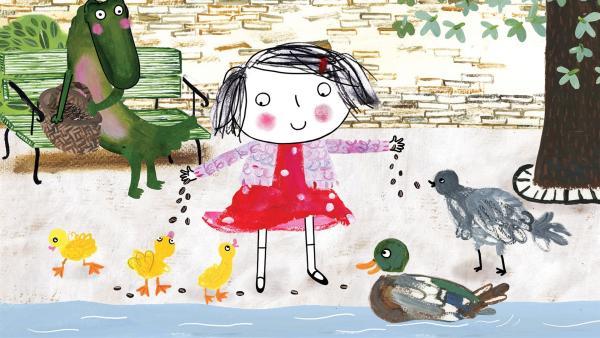 Rita will Vögel füttern. Aber das Krokodil hat auch Hunger, was nun? | Rechte: rbb/dansk tegnefilm