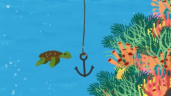 Eine kleine Schildkröte schwimmt durch das Meer und trifft auf einen Anker. | Rechte: rbb/MDR/NDR/finally GmbH & Co.KG