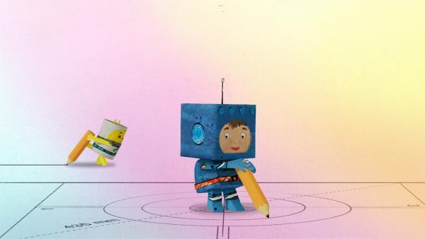 Timmi und Teddy zeichnen den Plan für ihre Rakete. | Rechte: MDR/rbb/NDR/MotionWorks