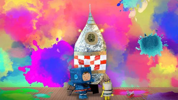 Teddy und Timmi bestaunen ihre fertige Rakete. | Rechte: MDR/rbb/NDR/MotionWorks