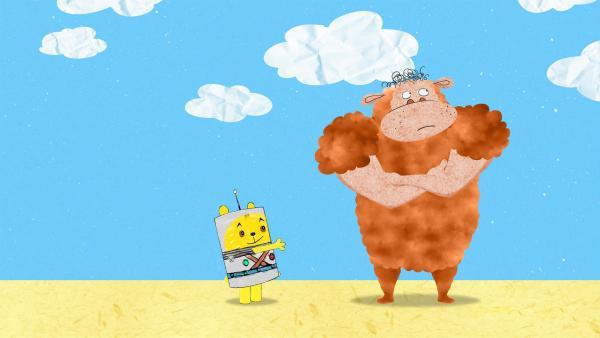 Teddy stellt fest, dass es gar nicht so einfach ist die Bewohner unterschiedlicher Planeten richtig zu begrüßen. | Rechte: MDR/rbb/NDR/MotionWorks