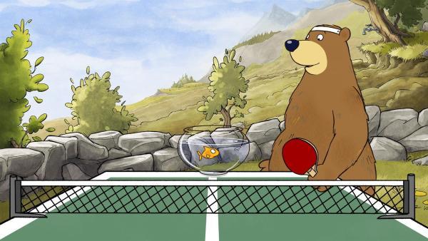 Dr. Brumm und Pottwal wollen eine Partie Tischtennis gegeneinander spielen. | Rechte: rbb/WunderWerk/TRIKK 17