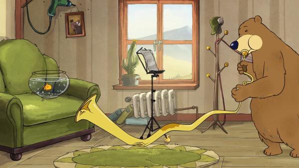 Dr. Brumm hat seine Tuba entknotet, damit die Töne besser hindurchgehen.   Rechte: rbb/WunderWerk/TRIKK 17
