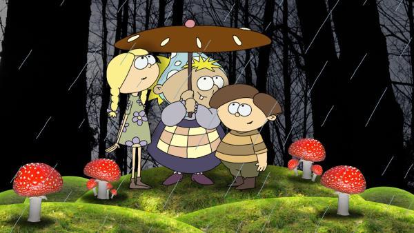 Als Hänsel und Gretel zu Besuch kommen, ist kein Pfefferkuchenhaus mehr da. Aber zum Glück noch der Hexenbesen. So finden alle wieder nach Hause.   Rechte: MDR/RBB/MotionWorks