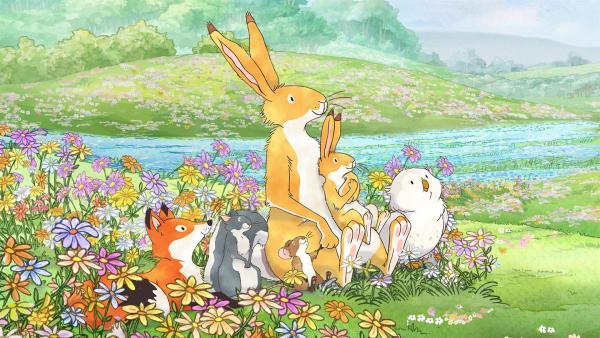 Großer brauner Hase und kleiner brauner Hase freuen sich zusammen mit ihren Freunden über den Frühling!   Rechte: KiKA/SLR Productions Australia Pty.Ltd./Scrawl Studios Pte Ltd./hr/ARD