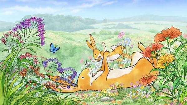 Großer brauner Hase und kleiner brauner Hase haben sich sehr lieb! | Rechte: KiKA/SLR Productions Australia Pty.Ltd./Scrawl Studios Pte Ltd./hr/ARD
