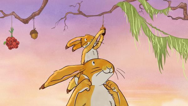 Großer brauner Hase und kleiner brauner Hase freuen sich zusammen mit ihren Freunden über den Frühling! | Rechte: KiKA/SLR Productions Australia Pty.Ltd./Scrawl Studios Pte Ltd./hr/ARD