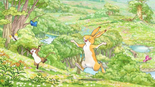 Als der kleine braune Hase an diesem Morgen aufwacht, ist irgendetwas anders als sonst. Ihm steigt ein ganz besonderer Duft in die Nase. Zusammen mit seiner Freundin, der kleinen Feldmaus, möchte er unbedingt herausfinden, woher dieser wundervolle Geruch kommt. | Rechte: KiKA/SLR Productions Australia Pty.Ltd./Scrawl Studios Pte Ltd./hr/ARD