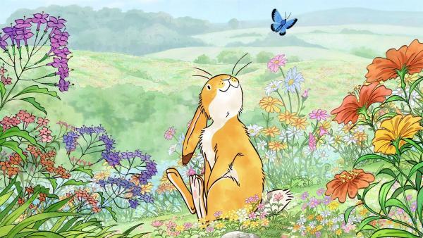 Als der kleine braune Hase an diesem Morgen aufwacht, ist irgendetwas anders als sonst. Ihm steigt ein ganz besonderer Duft in die Nase und er möchte unbedingt herausfinden, woher dieser wundervolle Geruch kommt. | Rechte: KiKA/SLR Productions Australia Pty.Ltd./Scrawl Studios Pte Ltd./hr/ARD